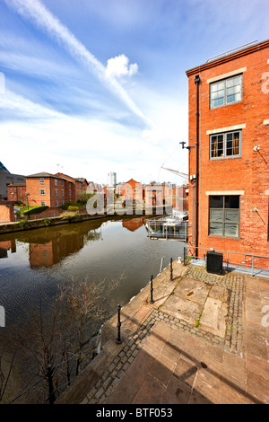 River Aire / Leeds Liverpool Canal from The Calls, Leeds city centre, West Yorkshire - Stock Photo
