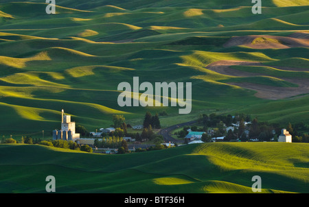 Palouse country wheat fields and the town of Steptoe from Steptoe Butte, Washington. - Stock Photo