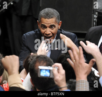 President Barack Obama works the crowd after speaking at a rally supporting Connecticut Democratic Candidates at - Stock Photo
