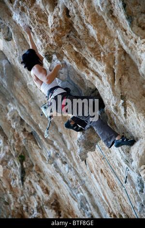 Rock Climbing, Kalymnos, Greece, - Stock Photo