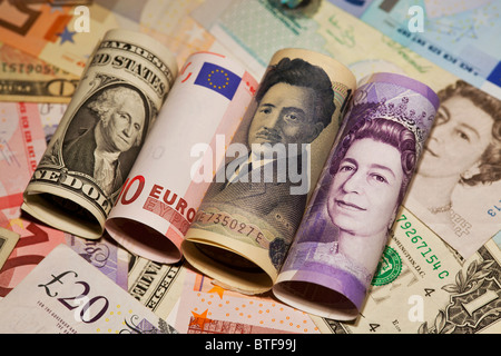 Dollar, euro, yen and sterling bank notes - Stock Photo