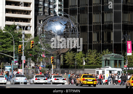 Globe Sculpture at Columbus Circle, New York City - Stock Photo
