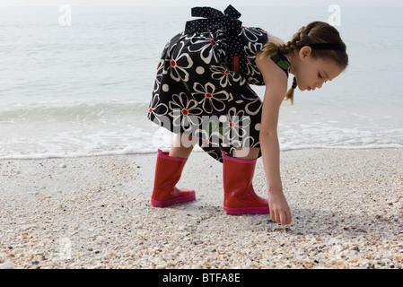 Girl picking up seashells on beach - Stock Photo