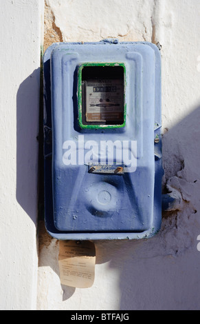 Greek domestic electricity meter. Taken on Paros, one of the Cyclades islands in the Aegean Sea. - Stock Photo