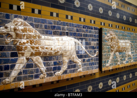 Processional street with lions, Babylon 604-502 BC, in the Archaeological Museum in Istanbul, Turkey - Stock Photo