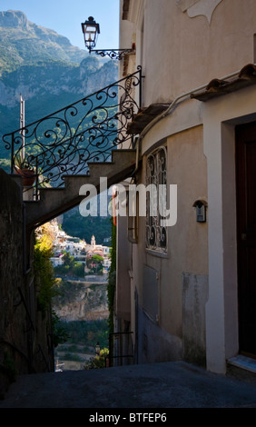 Street in Praiano (Amalfi Coast, Italy) - Stock Photo