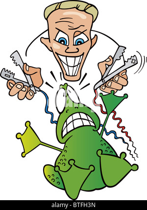 Illustration of crazy scientist and frightened frog - Stock Photo