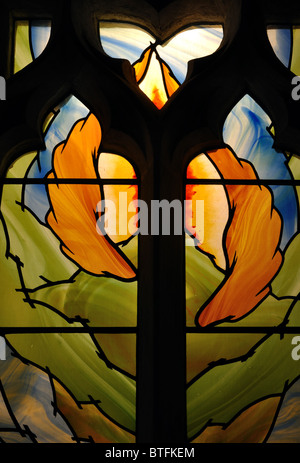 Millennium window, St. Michael`s Church, Great Comberton, Worcestershire, England, UK - Stock Photo