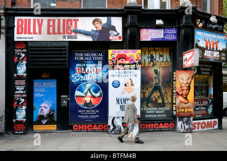 west end show poster on ticket office windows, london, england - Stock Photo