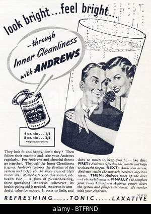 Advertisement for Andrews Liver Salt in English magazine circa 1950 - Stock Photo