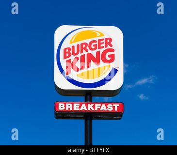 Burger King fast food restaurant sign on International Drive, Orlando, Central Florida, USA - Stock Photo