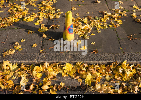 No parking traffic cone and matching yellow autumnal leaves on south London street. - Stock Photo