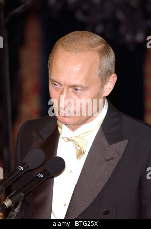 President Vladimir Putin of the Russian Federation making speech at a banquet at Guildhall, during official visit - Stock Photo