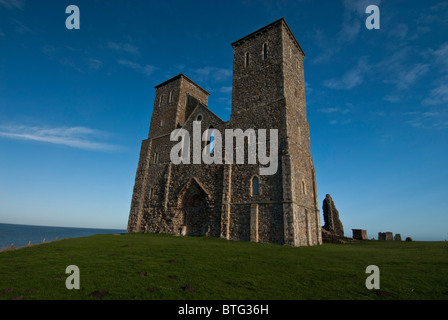 Reculver Towers, near Herne Bay, Kent, England, UK. !2th Century Norman Towers ruined church lying near remains - Stock Photo