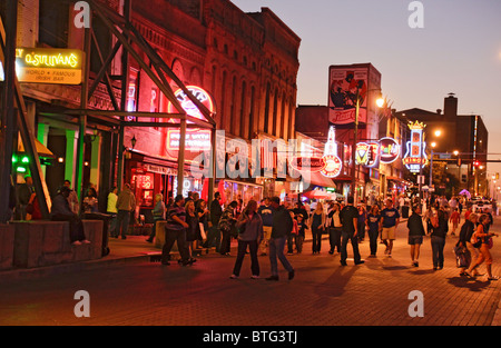 People out on a Friday Night on Beale Street Memphis, Tennessee, USA - Stock Photo