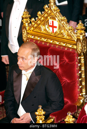 President Vladimir Putin of the Russian Federation during a banquet at Guildhall, part of his official visit to - Stock Photo