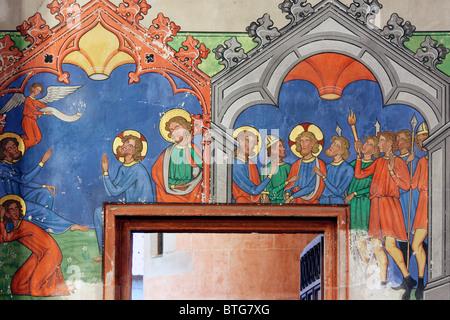 Fresco, Saint-Pierre-le-Jeune Protestant Church, Strasbourg, Alsace, France - Stock Photo