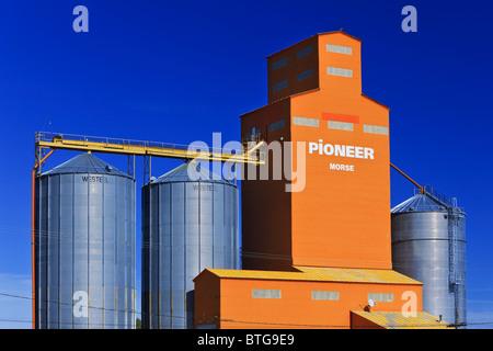 Grain elevator against clear blue sky, Morse, Saskatchewan, Canada. - Stock Photo
