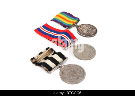 British First and Second World War medals - Stock Photo