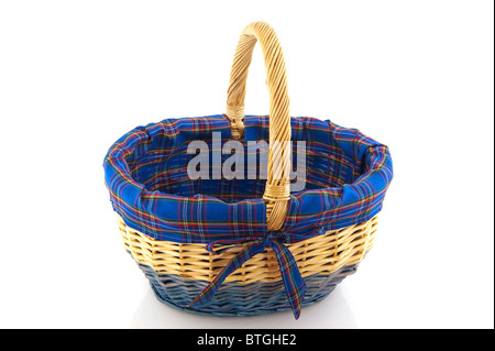 blue wicked basket for picnic or shopping - Stock Photo
