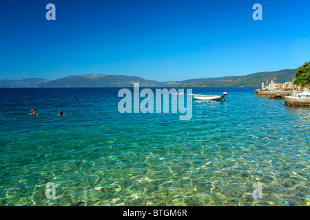 Beach in Valun village on Cres Island, Croatia - Stock Photo