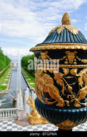 The Samson Fountain (Grand Cascade) in Peterhof (St. Petersburg, Russia) - Stock Photo