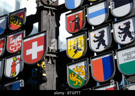 Cantonal Tree representing the Swiss Cantons in Swiss Court, Leicester Square, London, England - Stock Photo