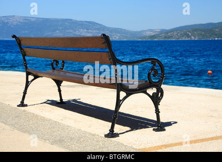 Bench in Valun village on Cres Island, Croatia - Stock Photo