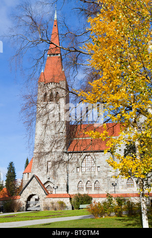 Tampere Cathedral in autumn - Stock Photo