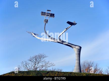 Memorial  'The Spirit of Flight'. Lanark Loch, Hyndford Road, Lanark, Lanarkshire, Scotland, United Kingdom, Europe.