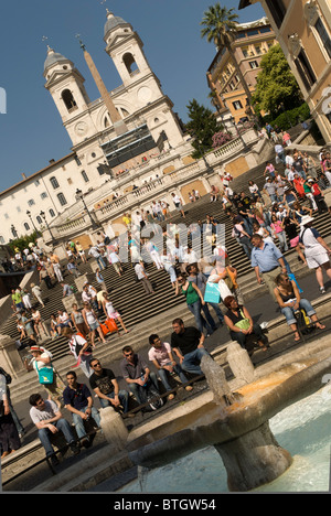 The Spanish Steps.  is a set of steps in Rome, Italy, climbing a steep slope between the Piazza di Spagna at the - Stock Photo