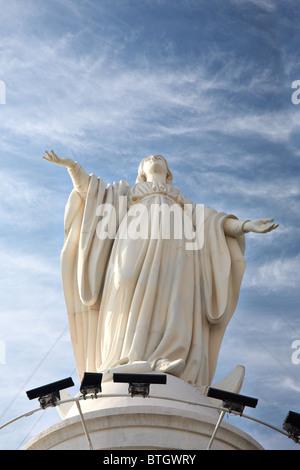 statue of Virgin Mary on San Cristobal hill, Santiago, Chile - Stock Photo
