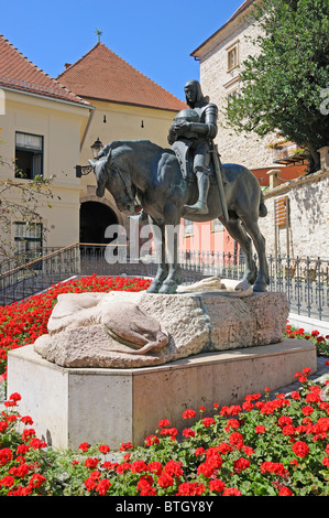 Zagreb, Croatia. Statue of St George and the Dragon on Radiceva (street) - Stock Photo