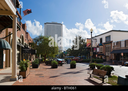 Adams Street with the Governor's Inn Hotel to the left and the new State Capitol Building behind, Tallahassee, Florida, - Stock Photo