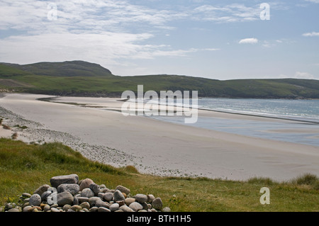 The Extensive beach at Bagh Siar Bay on the West Coast of the Island of Vatersay, Outer Hebrides, Scotland. - Stock Photo