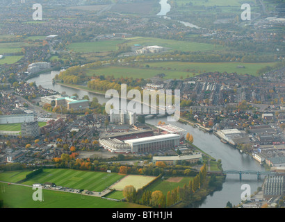 Looking along the River Trent at Nottingham, East Midlands, UK, Notts Forest Football club dominant with Trent Bridge - Stock Photo