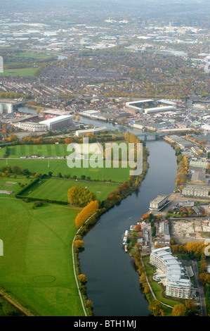 Looking along the River Trent at Nottingham, East Midlands, UK with Notts Forest and Notts County Grounds each side - Stock Photo