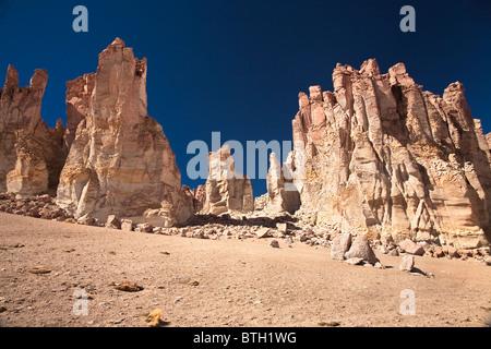 Rock cathedrals in Salar de Tara, Chile - Stock Photo