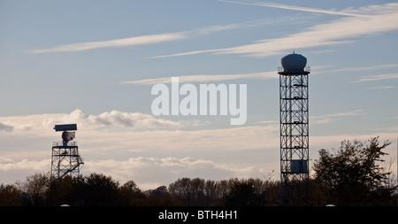 Edinburgh airport radar towers - Stock Photo