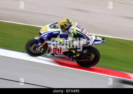 Valentino Rossi during the first practice session at Shell Advance Malaysian Motorcycle Grand Prix (MotoGP) in 2010. - Stock Photo