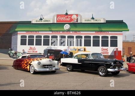 1950 Mercury customized and 1955 Chevrolet BelAir. - Stock Photo