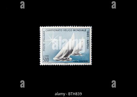 sailing ship in an italian stamp. - Stock Photo