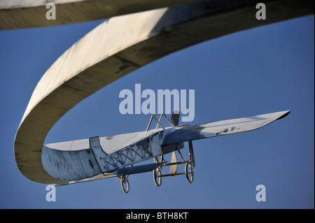 Bleriot monoplane. Memorial sculpture 'The Spirit of Flight', (detail). Lanark Loch, Lanark, Lanarkshire, Scotland, U.K., Europe