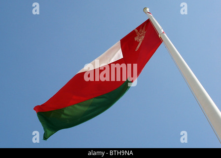 National Flag of the Sultanate of Oman in the Middle East - Stock Photo
