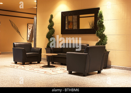 modern interior black leather sofa banquet hall - Stock Photo