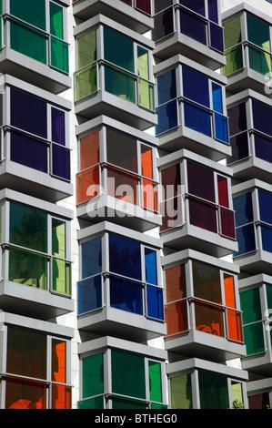 Coloured Glass in the windows of the Hesperia Hotel, Bilbao - Stock Photo