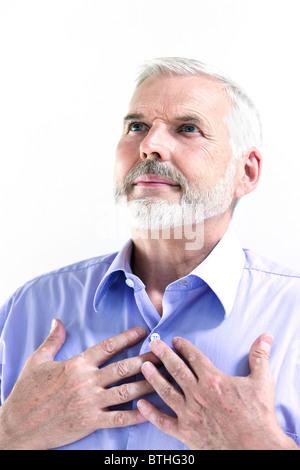 caucasian senior man portrait isolated studio on white background - Stock Photo