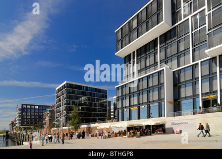 Modern residential and office building at Kaiserkai in the port city of Hamburg - Stock Photo
