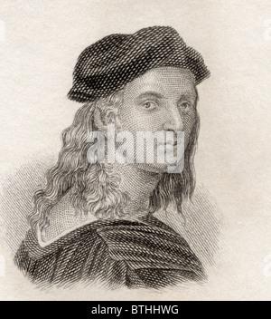 Raffaello Sanzio da Urbino, 1483 to 1520, aka Raphael. Italian painter and architect of the High Renaissance. - Stock Photo