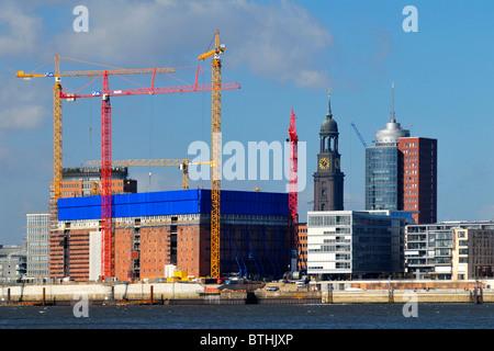 Harbor City, St. Michael and Elbe Philharmonic Hall in Hamburg, Germany - Stock Photo